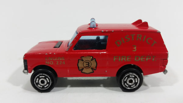 1980 Majorette Range Rover Fire Dept. District 3 Red No. 246 1/60 Scale Die Cast Toy Car Emergency Vehicle w/ Hitch