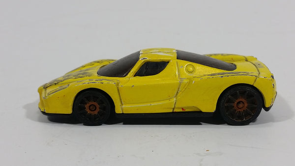 2005 Hot Wheels Enzo Ferrari Yellow Die Cast Toy Super Car Vehicle