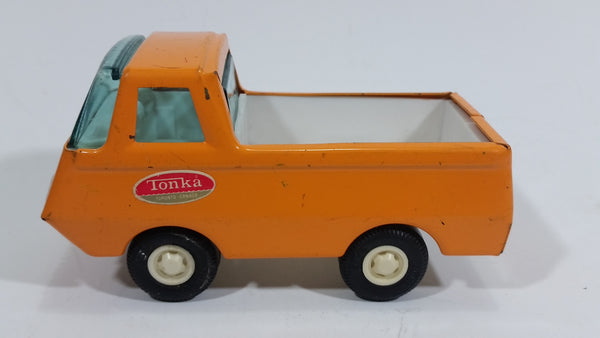 Vintage Tonka Open Box Pickup Truck Orange and White Pressed Steel Toy Car Vehicle