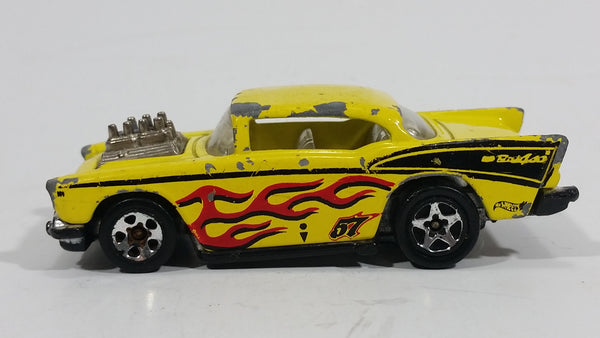 "HTF 1995+ Hot Wheels '57 Chevy ""Badass"" Yellow Die Cast Toy Muscle Car Vehicle"