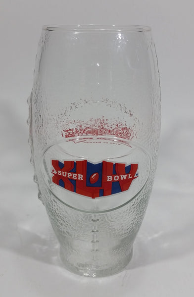 "Budweiser King of Beers Super Bowl XLIV 44 2010 Football Shaped 6 3/4"" Tall Glass Cup - Treasure Valley Antiques & Collectibles"