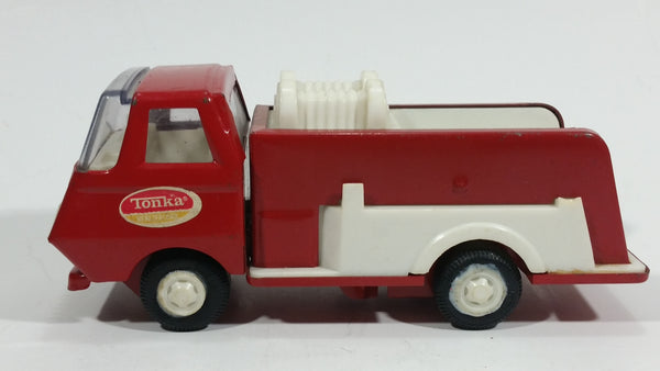 Vintage Tonka Fire Engine Firefighting Water Pumper Truck Red and White Pressed Steel Toy Car Vehicle