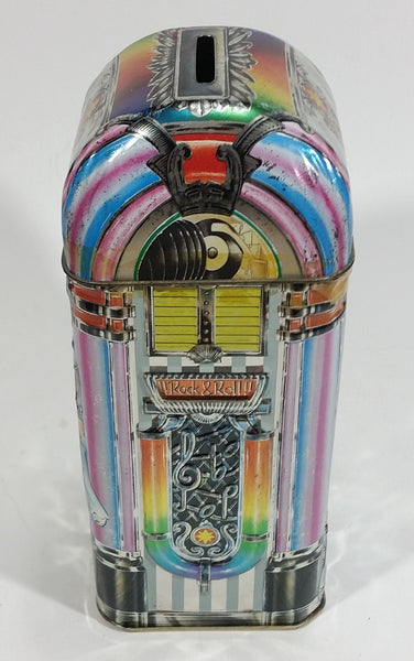 Collectible Churchill's of England Jukebox 2000 Money Bank Rock & Roll Tin Container