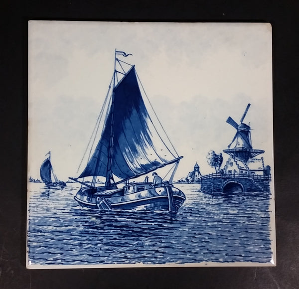 Vintage Delft Blue Sailboats and Windmills Dutch Holland Blue and White Ceramic Tile Trivet Made in Belgium
