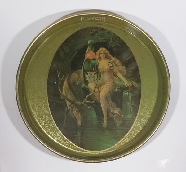 "Vintage Clysmic King of Table Waters Partial Nude Victorian Nymph With Large Stag Deer Round 14"" Metal Beverage Serving Tray - Treasure Valley Antiques & Collectibles"