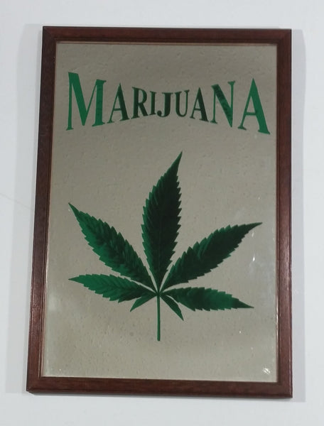 "Rare Vintage Marijuana Leaf 8 3/4"" x 12 3/4"" Wooden Framed Decorative Mirror"