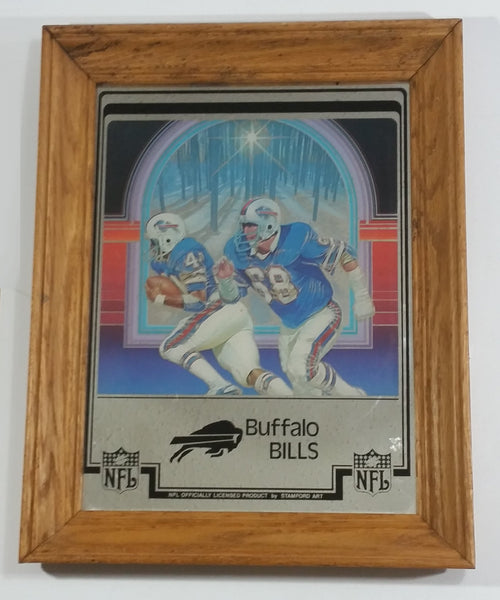 "Vintage Buffalo Bills NFL Football Team 11"" x 14"" Wood Framed Mirror Sports Collectible"