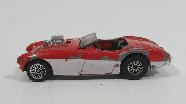 2001 Hot Wheels Austin Healey Red White Convertible Die Cast Toy Car Vehicle