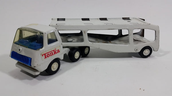 Vintage Tonka Semi Tractor Trailer Truck Auto Hauler Transport Rig White and Blue Pressed Steel Toy Car Vehicle