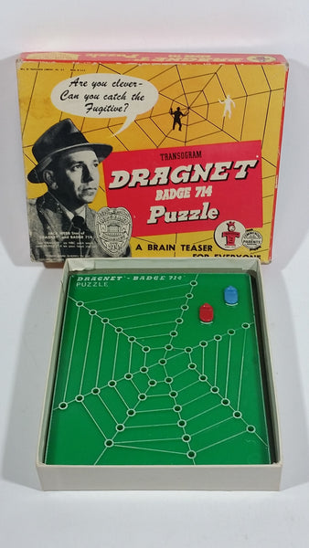 Vintage 1955 Sherry TV Jack Webb Dragnet Puzzle Transigram Badge #714 Brain Teaser Game With Original Box Complete - Treasure Valley Antiques & Collectibles