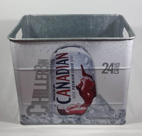 Molson Canadian Beer 24 Can White Metal Chiller Bin Promotional Advertising Collectible - Treasure Valley Antiques & Collectibles