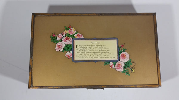 Antique Mother's Day Poem Glass Top Metal Edged Wooden Hinged Jewelry Box with Heart Shaped Mirror Inside