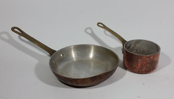 "Antique Set of 2 Copper Kitchen Cookware Forged Riveted Brass Handle 5.5"" Pan 3"" Pot"