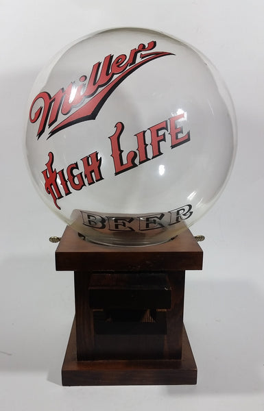 Vintage Miller High Life Beer Glass Globe Wooden Based Peanut Nut Dispenser Bar Collectible - Treasure Valley Antiques & Collectibles