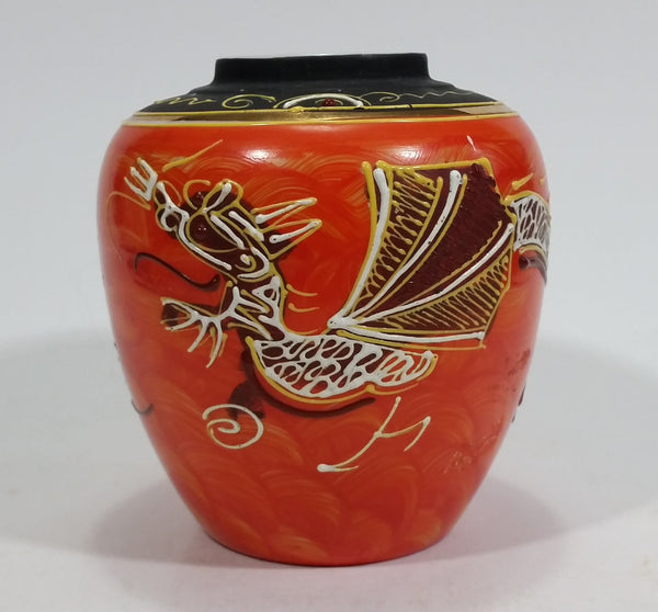 Japanese Moriage Dragon Phoenix Orange Ginger Jar Vase - Treasure Valley Antiques & Collectibles