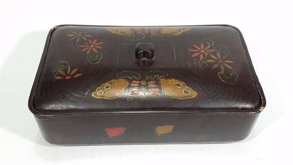 Vintage Japanese Lacquered Dark Brown Black Decorated Wooden Dresser Vanity Lidded Jewelry Trinket Box - Treasure Valley Antiques & Collectibles