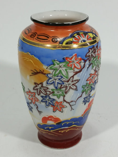 "Vintage Japanese Moriage Highly Decorated Colorful 5 1/4"" Tall Vase - Treasure Valley Antiques & Collectibles"