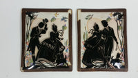 Set of 2 Vintage Victorian Couple Black Silhouette with Colorful Background Pictures in Small Bowed Glass Leather Edged Framed Art - Treasure Valley Antiques & Collectibles