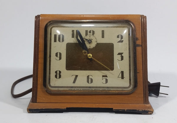 Antique Art Deco E. Ingraham Co. Bristol, Conn. Electric Plug-In Wooden Cased Alarm Clock Working - Treasure Valley Antiques & Collectibles