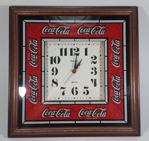 Vintage Enjoy Coca-Cola Coke Soda Pop Wooden Framed Glass Front Hannover Quartz Clock - Battery Operated - Treasure Valley Antiques & Collectibles