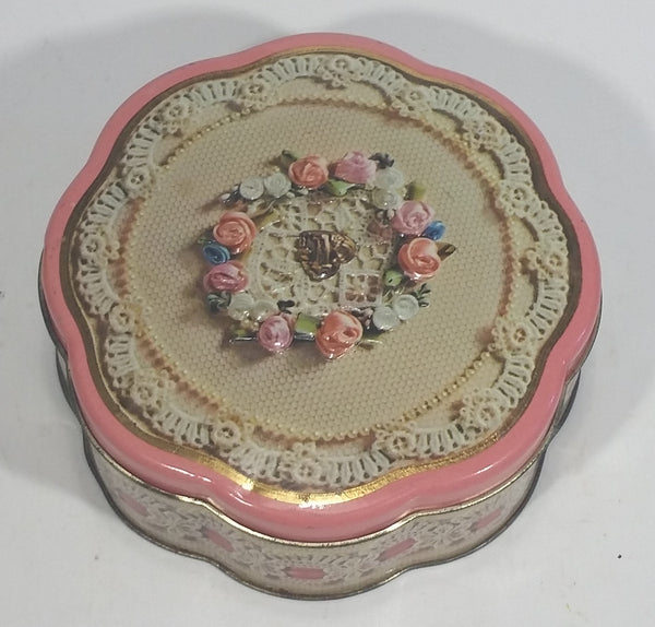 Vintage 1981 Avon Valentine's Day Pink Floral Flower Decor Sweets Chocolates Metal Tin Container