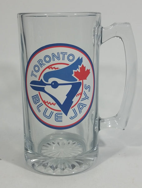 "Toronto Blue Jays MLB Baseball Team Large Schooner Size 7"" Clear Glass Mug Sports Collectible - Treasure Valley Antiques & Collectibles"