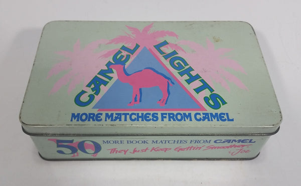 1992 Camel Lights Cigarettes Smokes Match Packs Hinged Tin Metal Container Tobacco Collectible - Empty