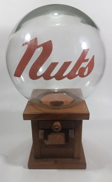 Vintage Glass Globe Wooden Based Peanut Nut Dispenser Bar Pub Lounge Collectible - Treasure Valley Antiques & Collectibles