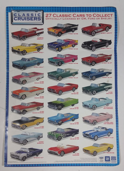 "2014 Classic Cruisers Folding Paper Car Food Containers 15 1/2"" x 11"" Poster Ford GM"