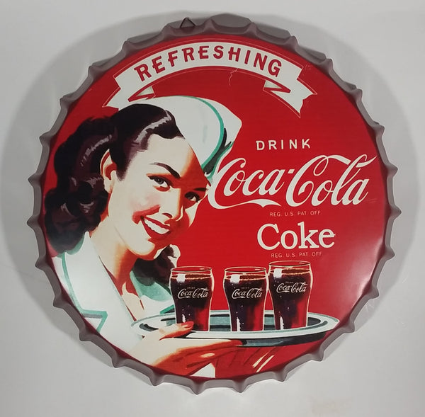 "Refreshing Drink Coca-Cola Classic Coke 16"" Bottle Cap Shaped Sign Reg. U.S. Pat. Off. Reproduction - Treasure Valley Antiques & Collectibles"