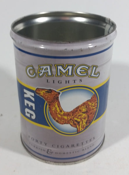 Vintage Camel Lights Forty Cigarettes Turkish & Domestic Blend Keg Shape Tin Metal Canister Smoking Collectible - No Lid