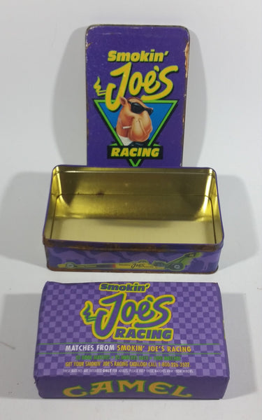 1994 Camel Smokin Joe's Cigarettes Smokes Nascar Racing Match Packs Hinged Tin Metal Container Tobacco Collectible - With Sealed Never Opened Matches - Treasure Valley Antiques & Collectibles