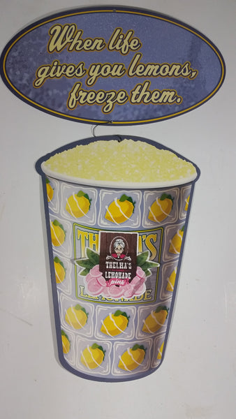 Slush Puppy Frozen Drink Flavor Thelma's Pink Lemonade Convenience Store Hanging Sign