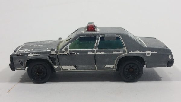 1987 Matchbox Ford LTD Police White Black Die Cast Toy Cop Car Vehicle - Heavy paint wear