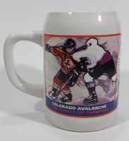Rare 1996 NHL Ice Hockey Stanley Cup Championship Colorado Avalanche White Ceramic Beer Stein Mug Sports Collectible
