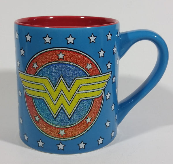 DC Comics Wonder Woman Super Hero Character Blue White Star 14 oz. Ceramic Coffee Mug - Treasure Valley Antiques & Collectibles