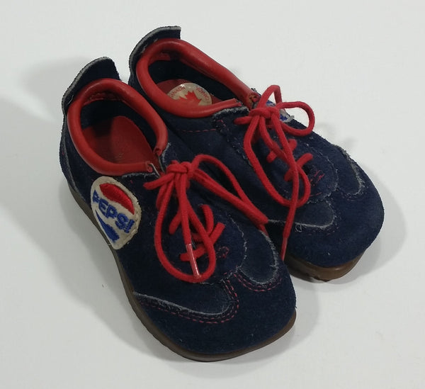Very Rare Vintage 1970s Zero Gravity Pepsi Cola Soda Pop Toddler Baby Kid's Dark Blue Suede Shoes Collectible - Treasure Valley Antiques & Collectibles