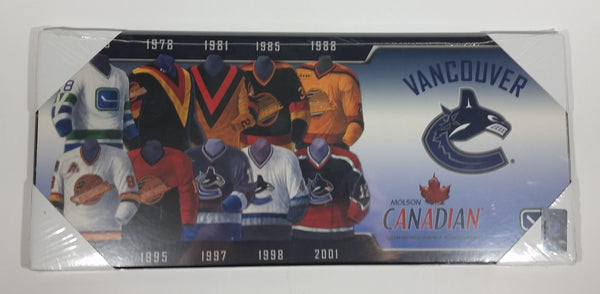 Molson Canadian Vancouver Canucks Ice Hockey Team Jersey History Wall Plaque Board - New - Treasure Valley Antiques & Collectibles