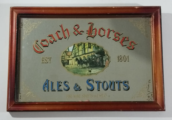 "Vintage Coach & Horses Ales & Stouts Fine Wine, Spirits and Mead 9"" x 13"" Wooden Framed Mirror Beer Pub Lounge Bar Collectible - Treasure Valley Antiques & Collectibles"