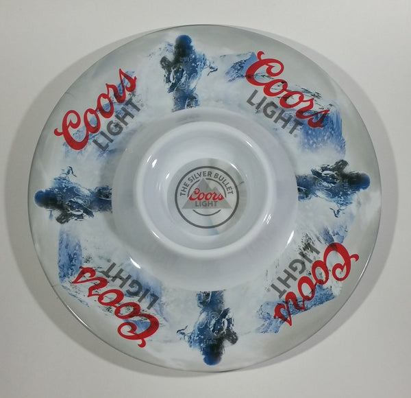 Coors Light Beer The Silver Bullet Football and Mountain Themed Plastic Nacho Food Serving Tray Platter - Treasure Valley Antiques & Collectibles