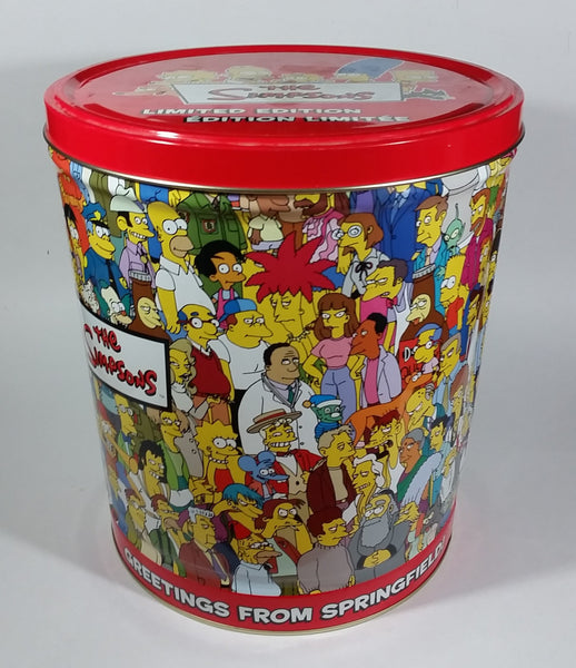 2003 The Simpsons Limited Edition Doritos Nacho Chips Large Round Tin Metal Canister Television Cartoon Collectible
