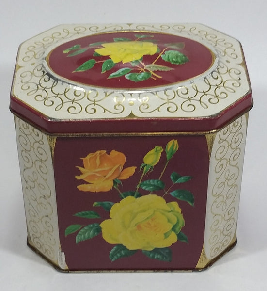 Vintage Mid-Century Riley's Variety Toffee Yellow and Orange Floral Red Burgundy with Gold Motif on Cream White Hinged Metal Tin Container - Treasure Valley Antiques & Collectibles