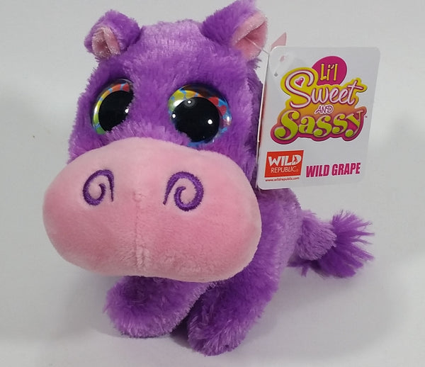 Wild Republic Li'l Sweet and Sassy Wild Grape Purple Hippopotamus Hippo Stuffed Toy Plushy New with Tags