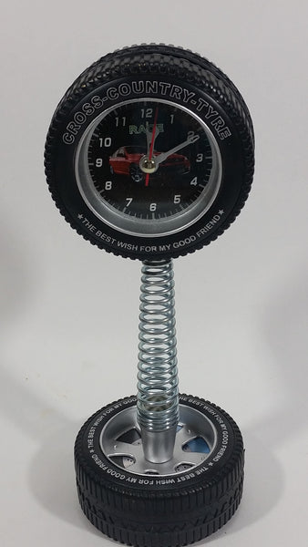 Tik Tock Cross Country Tire Sports Desk Clock Battery Operated Race Car Automotive Collectible