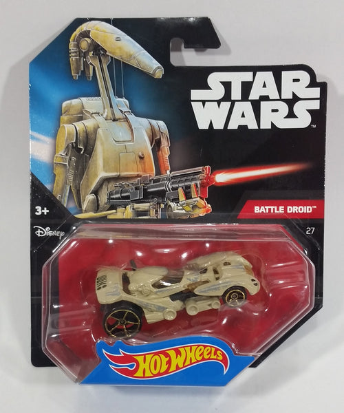 2014 Hot Wheels Disney Star Wars Battle Droid 27 Sand Brown Die Cast Toy Car Vehicle New in Package - Treasure Valley Antiques & Collectibles