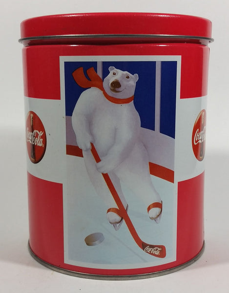 Coca-Cola Coke Soda Pop Drink Beverage Polar Bear Red and White Round Tin Metal Canister Collectible - Treasure Valley Antiques & Collectibles