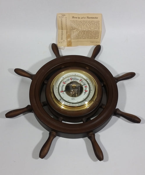 "Vintage Barigo 11 1/4"" Captain's Ships Wheel Barometer - Wood, Brass, Metal Face - West Germany with Original Instructions - Treasure Valley Antiques & Collectibles"