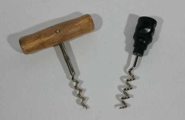 Pair of Wine Corkscrews One Wooden Handle One Plastic Handle - Treasure Valley Antiques & Collectibles