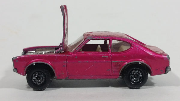 Vintage 1970 Lesney Products Matchbox Superfast Ford Capri Magenta Pink No. 54 Die Cast Toy Car Vehicle with Opening Hood