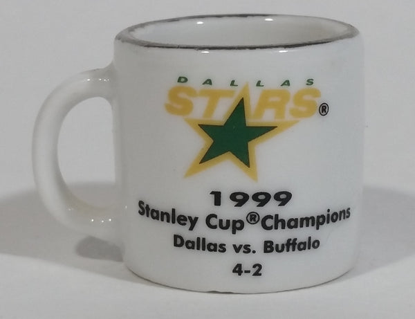 NHL Stanley Cup Crazy Mini Mug Dallas Stars 1999 Champs W/ Opponent & Score - Treasure Valley Antiques & Collectibles